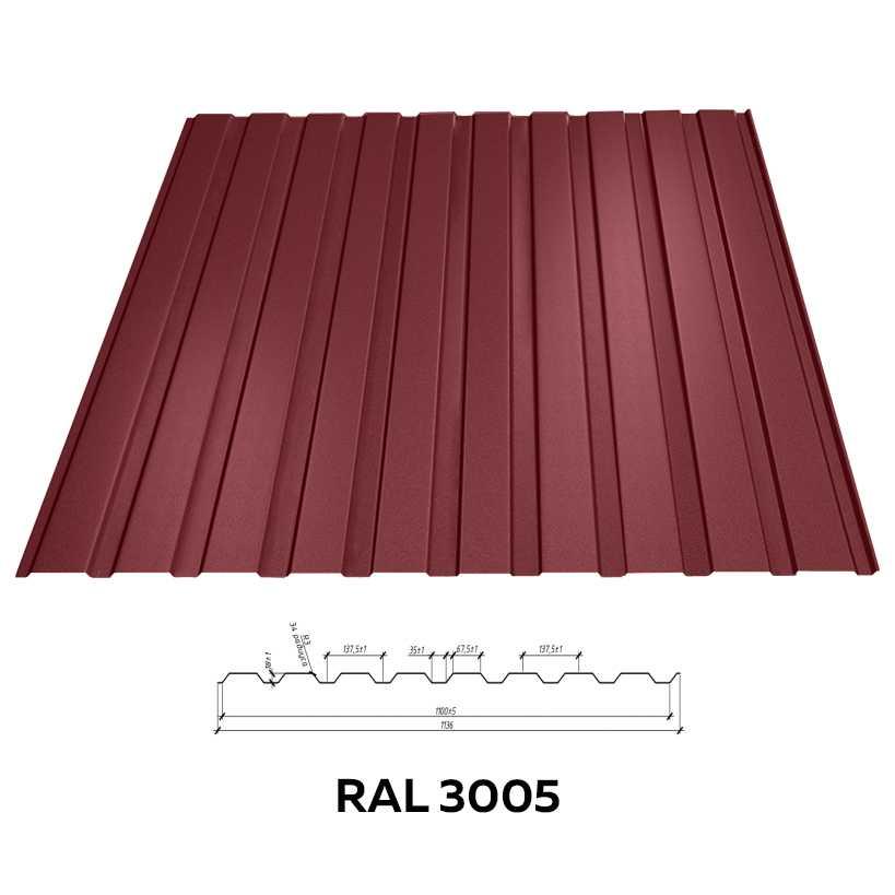 Профнастил с полимерным покрытием RFS-8 0,20*950*2000мм RAL3005 вишнёвый 1/10/250