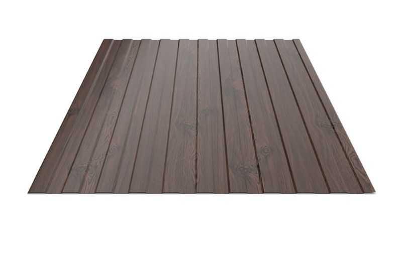 Профнастил с полимерным покрытием RFS-10 0,40*1150*2000мм RAL7024 Дерево Венге Rooffix 1/10/250